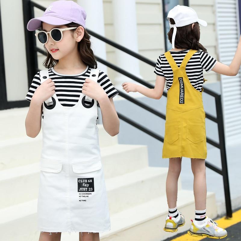 Girls Suspenders Dress 2 Pcs Set 2019 Summer Fashion Kids Stripe T-Shirts And Dresses Set For Girl 5 7 9 11 13 Year Clj144 34