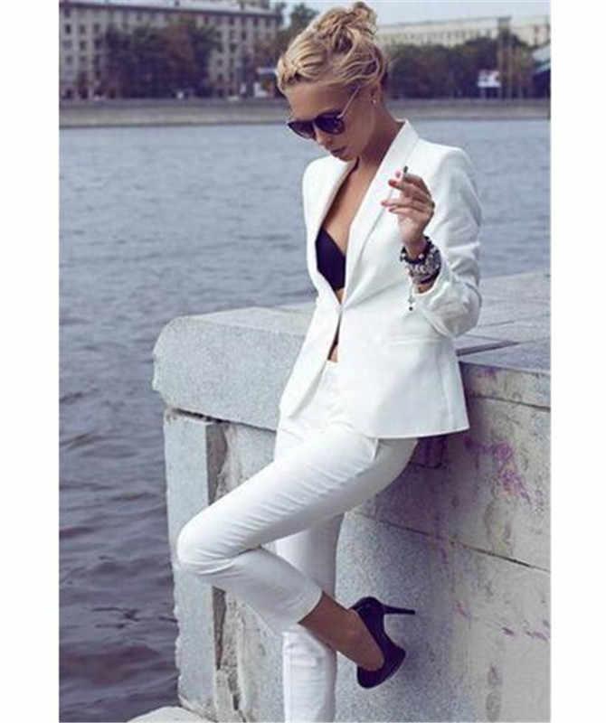 Trajes de pantalón de negocios blancos elegantes para mujeres traje de pantalón de mujer hecho a medida + pantalones de trabajo Pantsuit para fiesta de boda