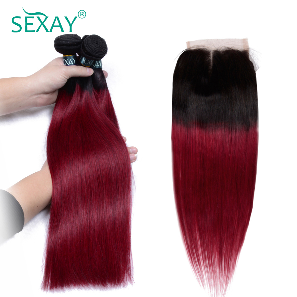 SEXAY Burgundy Ombre Bundles With Closure 1B/Wine Red Brazilian Straight Hair Ombre Human Hair 3 Bundles With Closure Non Remy