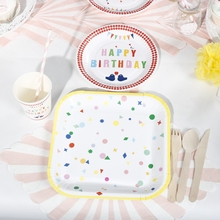 Riscawin 90pcs Happy Birthday Paper Plates Birthday Party Decoration For 10 Packs Disposable Tableware Set Baby Shower Supplies