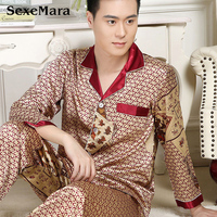 Soft Men Pajamas Sleepwear Sets Long Sleeve Comfort Men S Sleepwear V Neck Smooth Male Pajamas