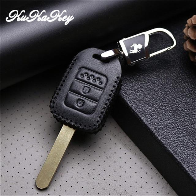 Leather Car Key Case Fob Cover For Honda Vezel City Civic Jazz Brv
