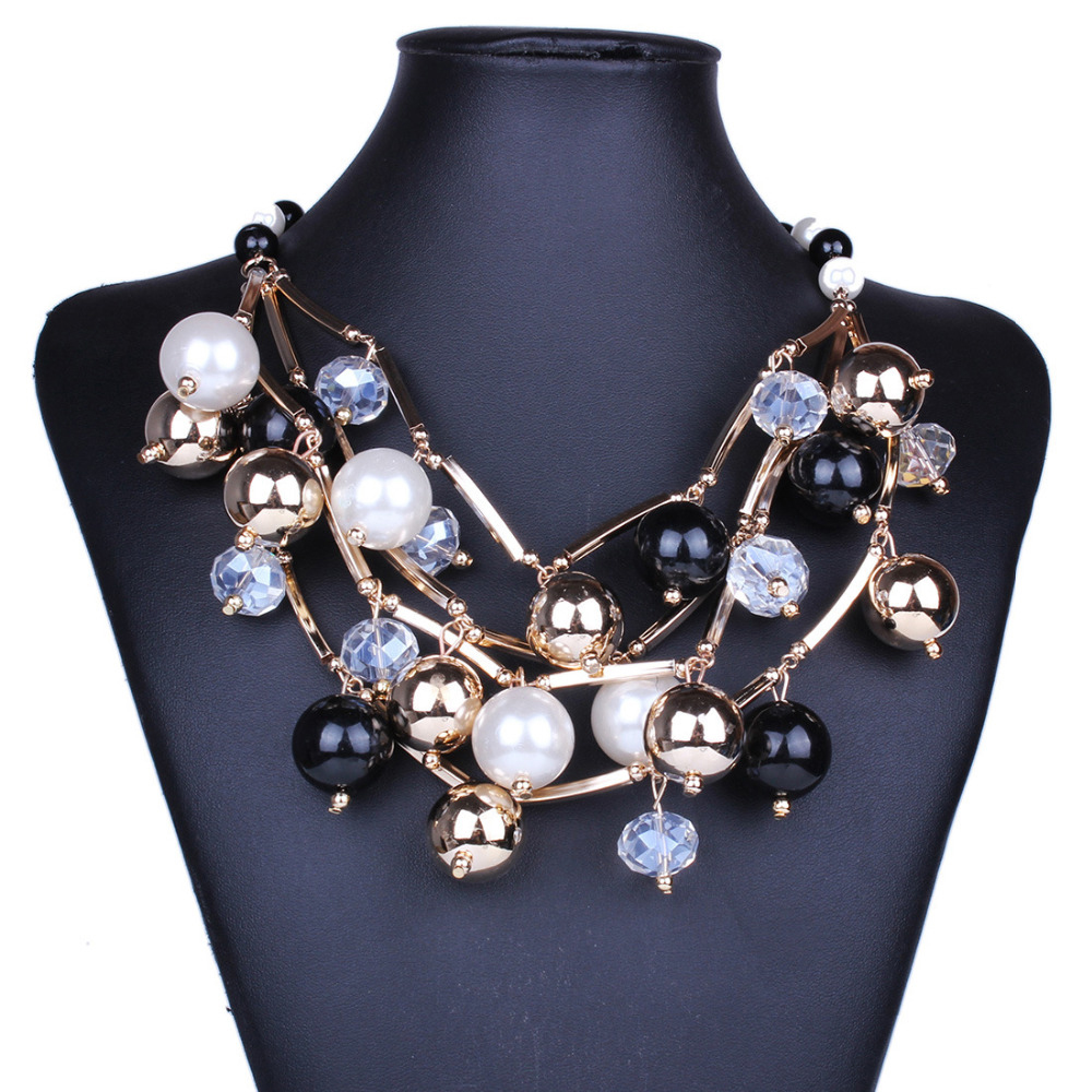 2017 Brand Multilayer big Beads gem Maxi Necklace Gypsy Vintage Collier Statement Chunky Black collar Choker Necklace Jewelry uken metal beads chunky maxi necklaces for women 2018 fashion choker collar statement necklace vintage jewelry wedding party