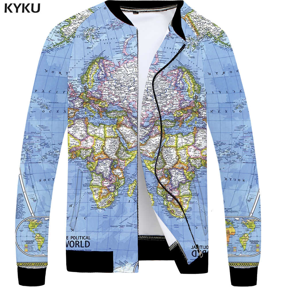 KYKU World Map Jacket Men Blue Graphics Jacket Baseball 3d Printed Coat  Slim Vintage Mens Clothing Streetwear Autumn Jackets New