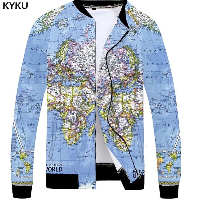 KYKU World Map Jacket Men Blue Graphics Jacket Baseball 3d Printed