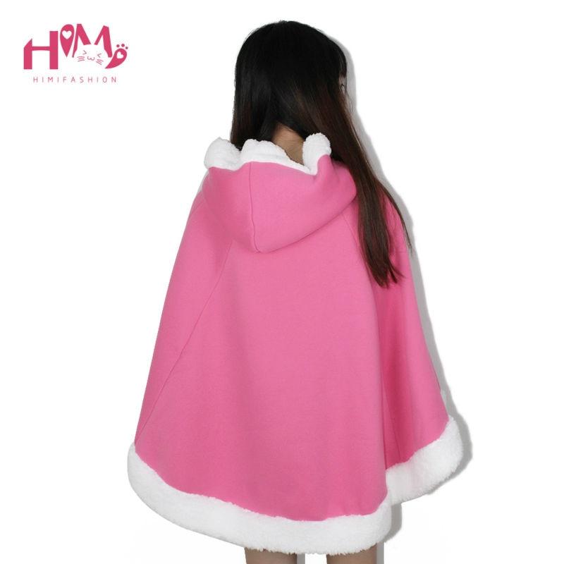 Christmas Hooded Cloak Winter cape Women Pink Unlined Upper Garment Sets Fleece Lovely Japanese Coat Blue  2