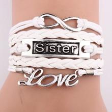 2018 Handmade Antique Silver Infinity Mom Grandma Sister Letters Heart Charm Leather Bracelets & Bangles for Women
