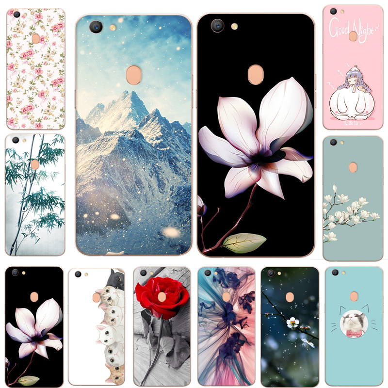 For OPPO F5 Case Soft TPU Silicone Landscape Scenery Flower Cartoon Capa Case Cover For OPPO F5 F 5 Youth A73 Phone Back Coque