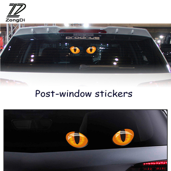 ZD 3D Cat Eye Rear View Mirror Rear Window Cat Stickers for Abarth Fiat 500 BMW E60 E36 E34 Mercedes Benz W204 Volvo XC90 V70 image