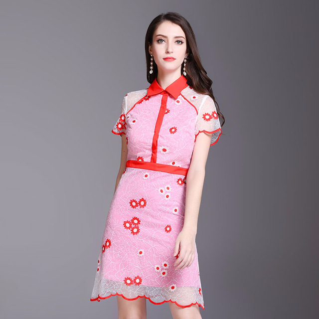 Short Sleeve Floral Embroidery Sweat Dress