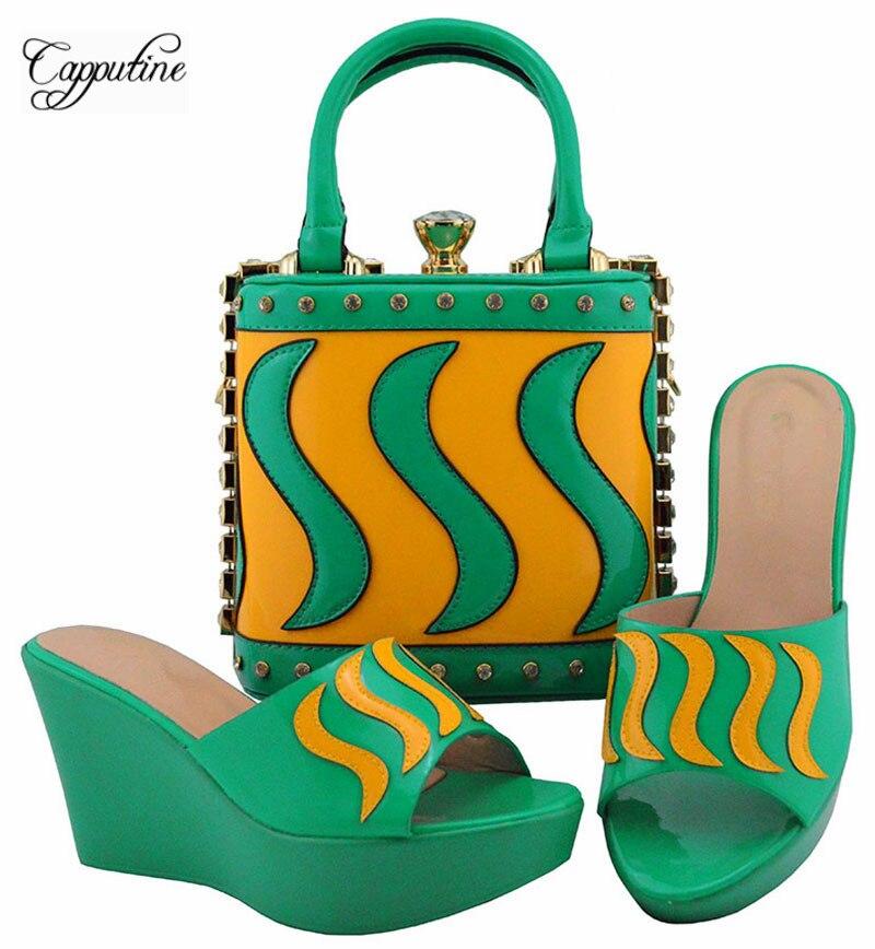 Adaptation Merveilleux Sandale Et Avec Ensemble Chaussures Wedge Belle Talon Pour Main Sac Vert D'eau Robe À Md005 Jaune Partie fxfrw6g4q