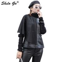 Streetwear Leather Vest Women Summer Asymmetry Ruffles Mesh Spliced Sheepskin Genuine Leather Vest Casual Sleeveless Female Vest