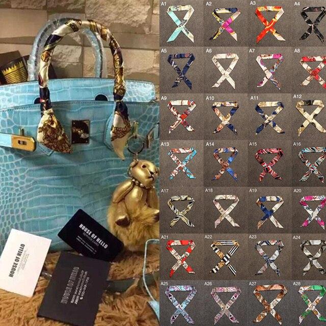 34 Цвета новые шелковые Малый Для женщин шарф волос сумки ручка украшения галстук многофункциональный ручной тесемка, шарф 4*100 см M30