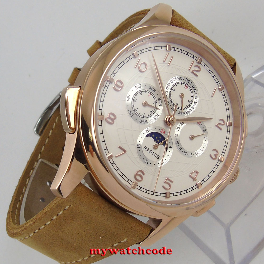 44mm parnis white dial rose golden plated case date day automatic mens watch 453 цена и фото