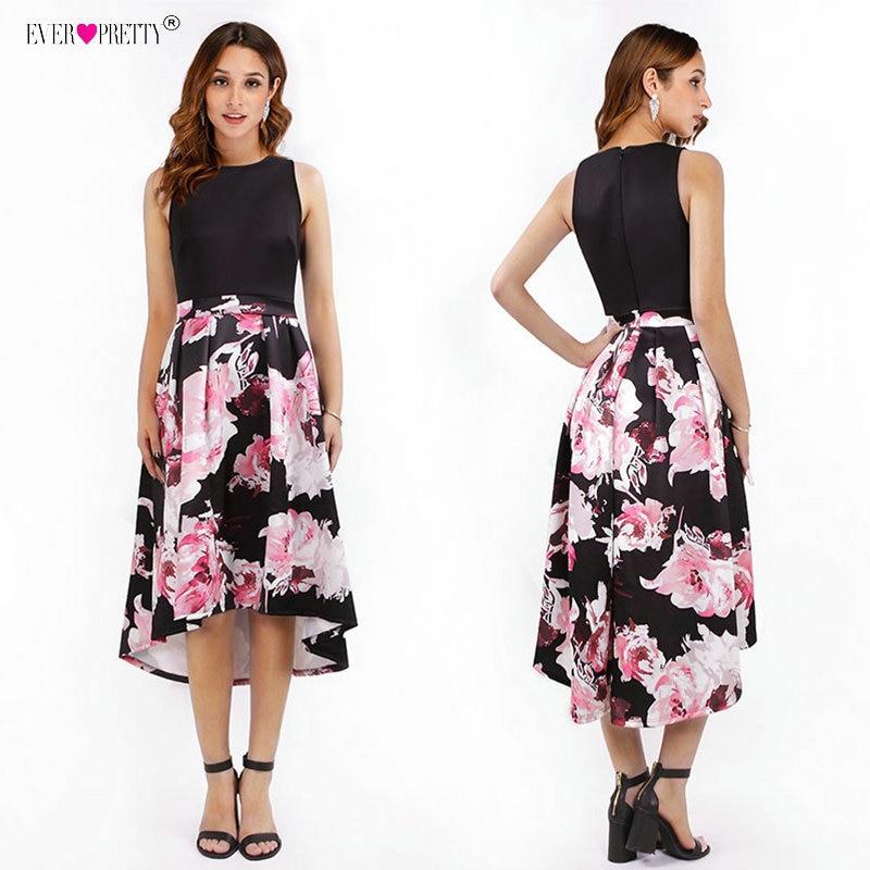 Floral Print Short   Prom     Dresses   Ever Pretty Scoop Sleeveless Tea-Length Party Gowns Modern Black Contrast Color Gala Jurken 2018