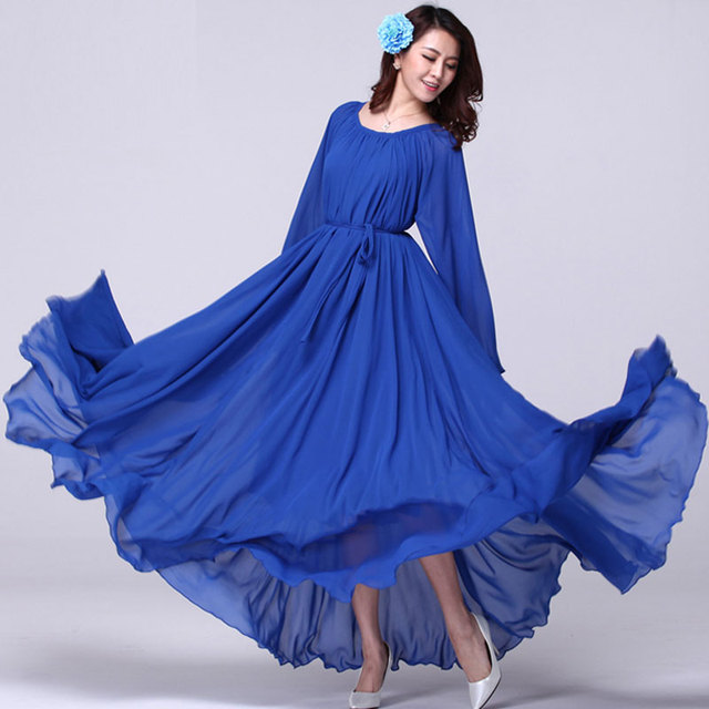 2021  Long Sleeve Solid Color Bohemia Elegant Plus Size Full Length Maxi Dress Holiday Beach Bridesmaid Sundress 2