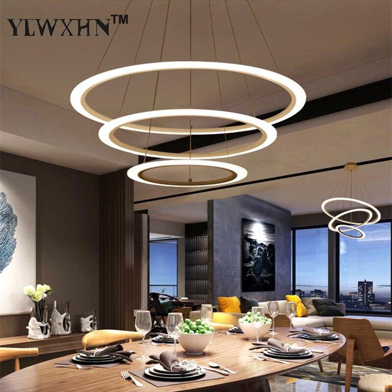 2017 Suspension Luminaire Modern Led Circle Ring Chandelier Light For Living Room Acrylic Lustre Lighting White Sliver 90-260