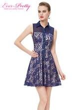 Кружевные нагрудные феста темно-синий vestido покроя свободного рукавов летние короткие де