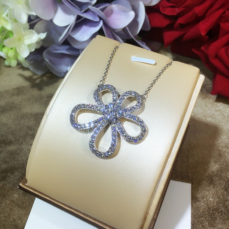 Large Size Floral Drop Pendant Fashion Designer Women Link Necklace Pure 925 Sterling Silver Trendy Women Necklace stunning rhinestone water drop floral layered necklace for women