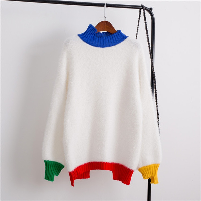 New Irregular Hippocampus Stripe Harajuku Sweater Women Loose Hedging Long Sleeved Stitch Knitted Coat