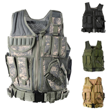 лучшая цена Adjustable Tactical Molle Vest Military Equipment Airsoft Paintball   Hunting Protection Body Armor USMC Army Vest