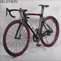 2018 T800 22 Speed Carbon Road Bike UD Full Carbon Complete road bike 700C with Poweway R36 Wheels Bicycle V brake OG EVKIN