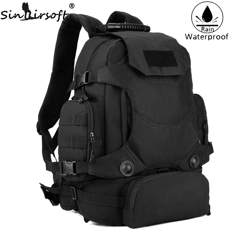 SINAIRSOFT Men Army Waterproof 45L Outdoor Backpack Travel Tactical Combination Camping Bags Large Capacity Shoulder Bags sinairsoft tactical military backpack 40l men army waterproof outdoor travel camping bags large capacity shoulder backpacks