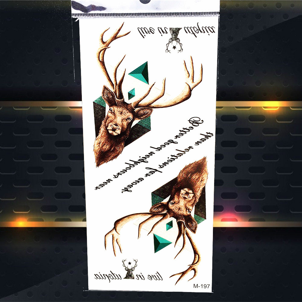 Real Deer Elk Face Horn Temporary Tattoo Triangle Design Fake Waterproof Tattoo Sticker Diamond Men Armband Women Body ARt Tatoo