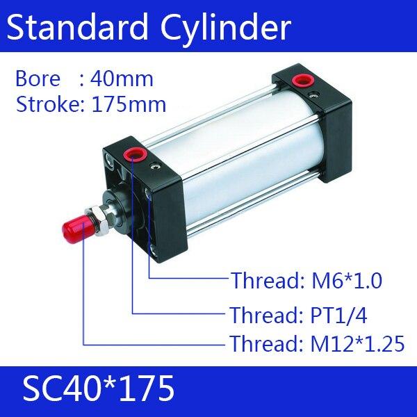 ФОТО SC40*175 40mm Bore 175mm Stroke SC40X175 SC Series Single Rod Standard Pneumatic Air Cylinder SC40-175