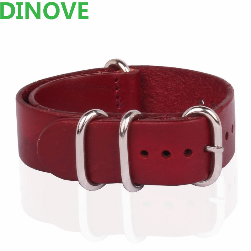 DINOVE Brand 1PCS High quality 20MM 22MM 24MM Bracelet Straps Red Genuine Leather Watch band For
