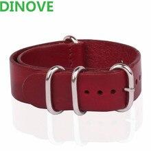 DINOVE Marque 1 PCS Haute qualité 20 MM 22 MM 24 MM Bracelet Bretelles rouge Véritable bande de Montre En Cuir Pour Bracelet NATO Bracelet 20 MM
