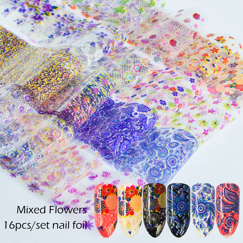 16pcs/lot Lace Flower Nail Foil Nail Art Transfer Stickers Decal Set 4*20cm Colorful Floral Manicure Nail Tips Decoration SA500 hot sale 20 sheets lot 20 4cm nail art transfer foil floral serial sexy black lace pattern nail sticker foil material diy wy188