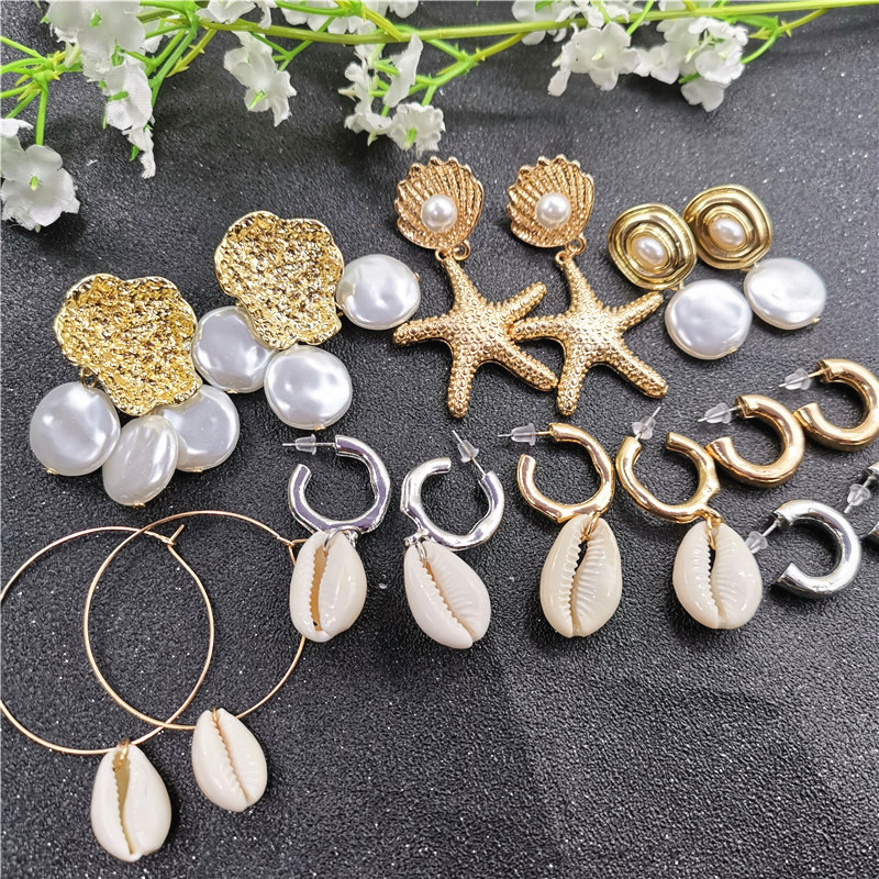 Vintage Sea Starfish Cowrie Shell Drop Earring for Women Fashion Gold Silver Color Geometric Imitation Pearl Statement Earrings
