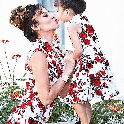 Mode Mutter Tochter Rose Flora Chinesischen Stil Elegante Kleid Familie Kleidung