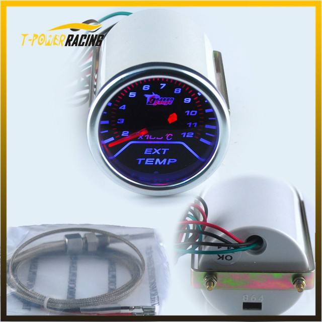 52mm 12V Racing Car Smoke Lens Pointer  Exhaust Gas Temp Gauge With Sensor Exhaust Temperature Auto Gauge YC100061