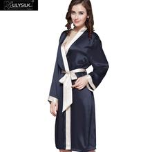 Lilysilk Silk Robe Female Home Dressing Gowns Women Wedding 22 momme Contrast Color Navy Blue Bridesmaid Kimono Long Night Wear(China)