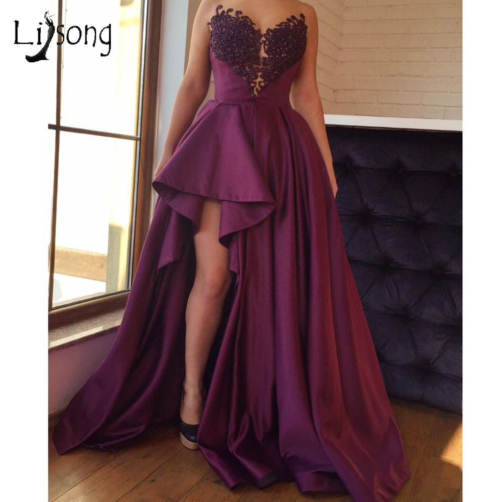 Grape Purple Saudi Arabic Sexy Long   Prom     Dresses   Split 2018 Appliques Beaded Lace Ruffles   Prom   Gowns Sweetheart Off Shoulder