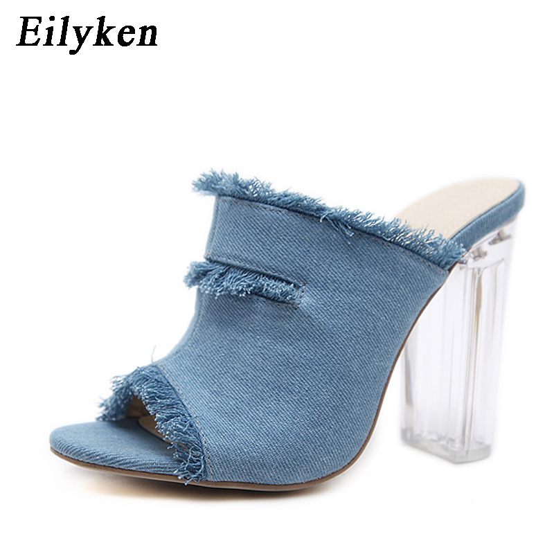 Eilyken 2018 New Summer Blue Denim Transparent heel Slippers Shoes Sandals slippers For Women size 34 40