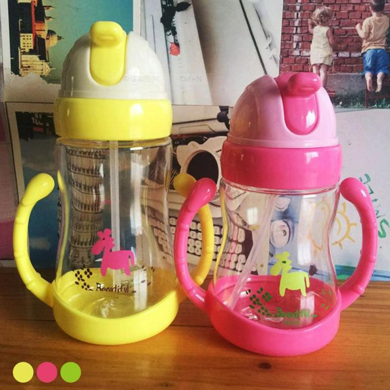 350ml Baby Training Cup with handles Toddler infant Straw Learn Feeding Drinking Water bottle Cute baby Feeding Cup gift R4-36H