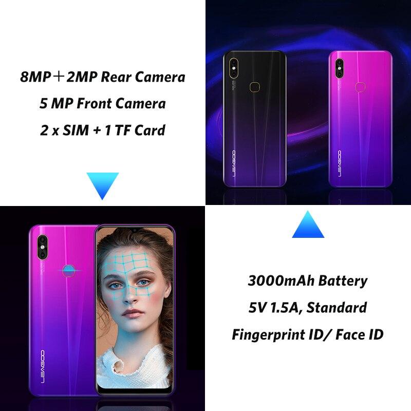 LEAGOO M13 Android 9.0 Smartphone 6.1 ''HD IPS Waterdrop affichage 4GB RAM 32GB ROM MT6761 3000mAh double cames 4G téléphone portable - 4