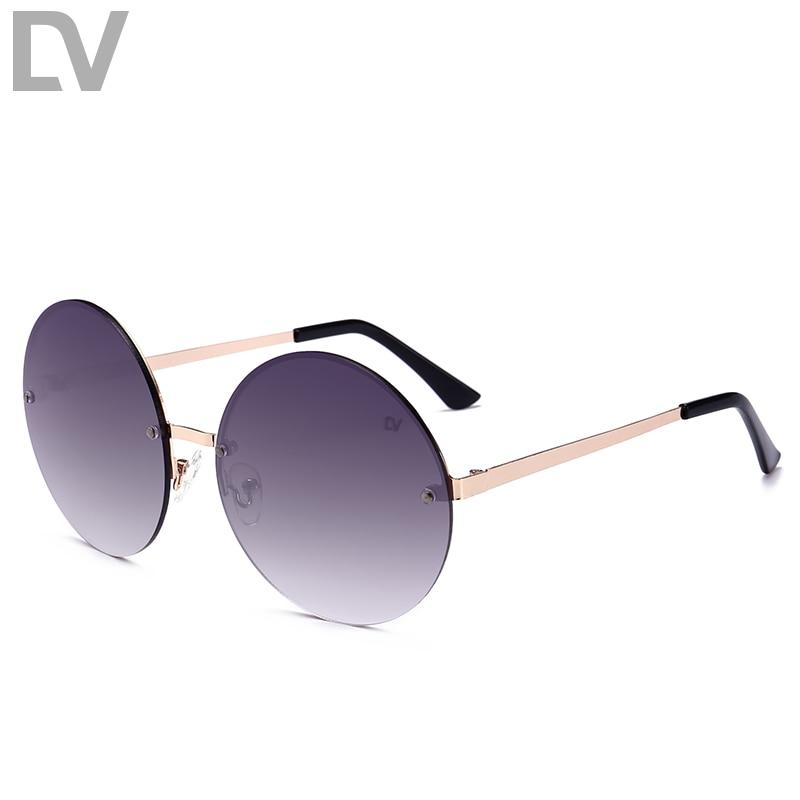 DV Metal Round Rimless gafas de sol mujer Vintage moda gafas de sol mujer diseño de marca espejo lente UV400 oculos gafas de sol