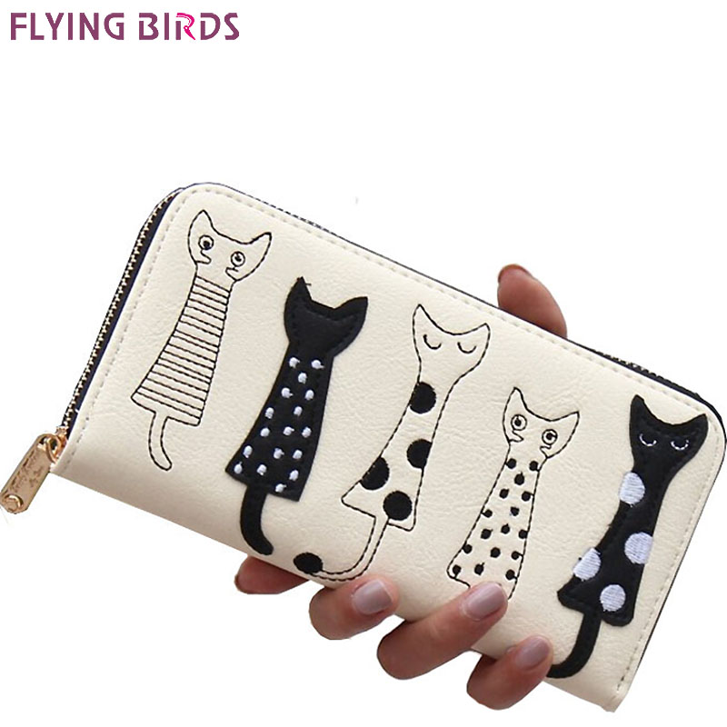 FLYING BIRDS! 2016 women wallets leather wallet long style dollar price Women bag card holder cartoon cat coin purse  LS8723fb japan south korea cartoon owl mini wallet coin case card holder dollar price bag quartet small purse gift wholesale