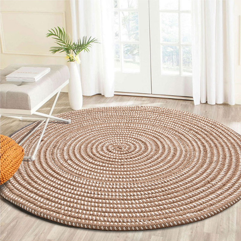 EHOMEBUY Carpet Round Carpet Floor Protection Cover Home Parlor Striped Living Room Mat Round Carpet Tatami Rug New Arrival
