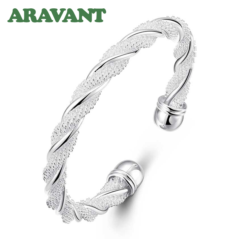 New Fashion 925 Silver Jewelry Twist Bangles Open Cuff Bracelets For Women Charm Engagement Jewelry Gifts