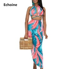 Colorful Print Maxi Dress Sexy Bodycon Backless Long Dress Halt Lace Up Party Dress Sheath Clubwear Outfit Hollow Outfit Vestido lace up sheath dress