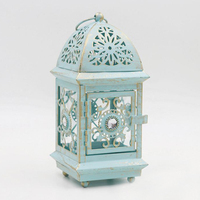 Moroccan Accents Lattice Antique Green Gold Acrylic Jeweled Home Decor Iron Candle Lantern