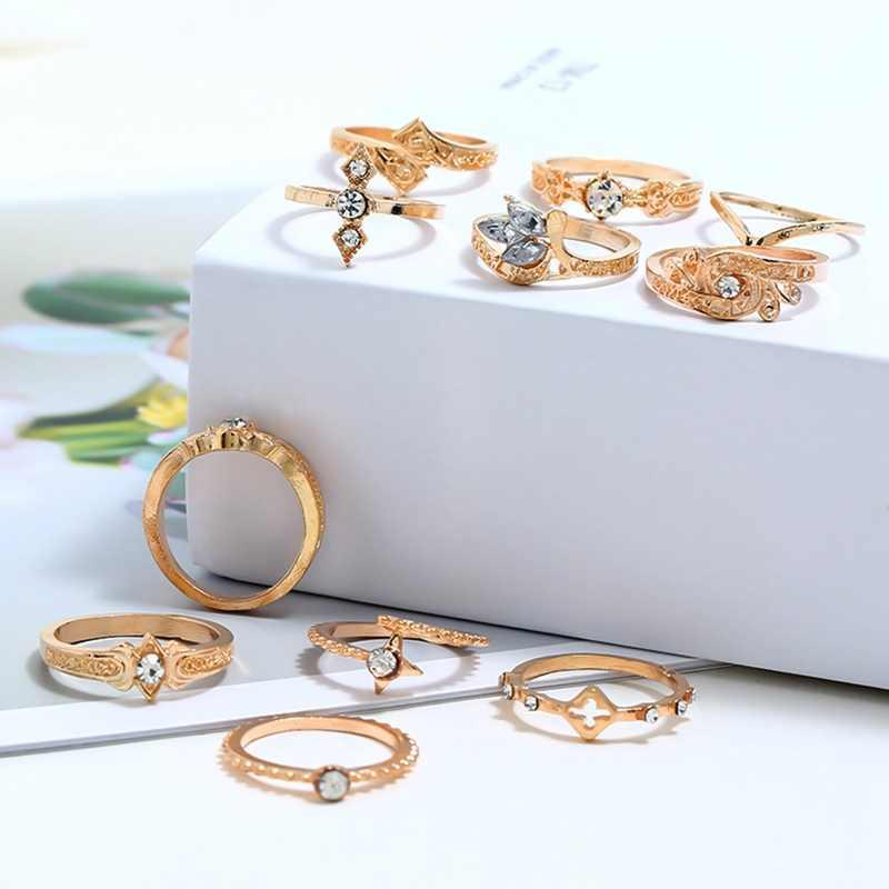 11 ชิ้น/เซ็ต Leaf Inlay Totem คริสตัลประณีตแหวน Bohemian Retro แหวนเงินชุดผู้หญิงงานแต่งงานครบรอบ