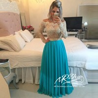 Vestidos-De-Noche-Abendkleider-2015-Long-Evening-Dresse1s-Off-Shoulder-Long-Sleeve-Beaded-Chiffon-Prom-Gowns