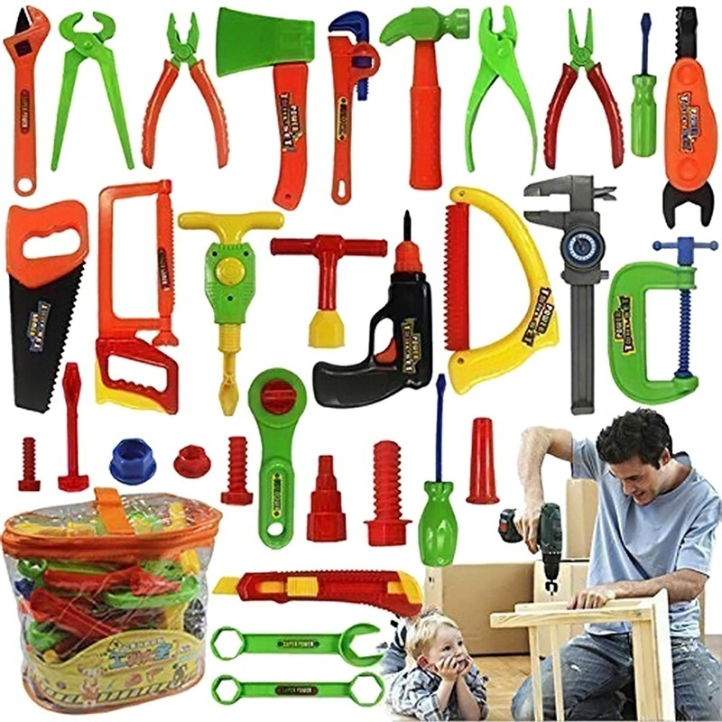 Every family Deluxe 34 pcs Repair Tools Set Boy Kid Toys Craftsman Pretend Play Fixing Skill
