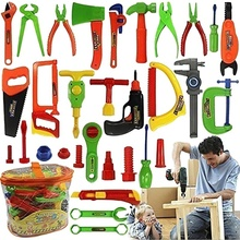 Every family Deluxe 34 pcs Repair Tools Set Boy Kid Toys Craftsman Pretend Play Fixing Skill Puzzle toy Christmas gift